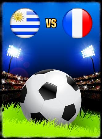 Uruguay versus France on Soccer Stadium Event Background Original Illustration