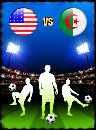 Algeria versus United States on Stadium Event Background Original Illustration