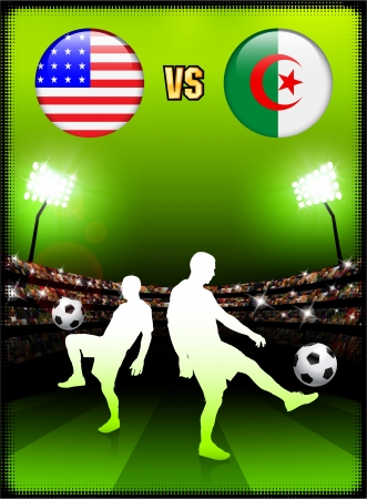 versus: Algeria versus United States on Stadium Event Background Original Illustration
