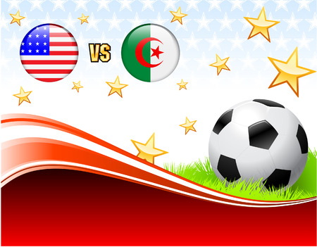 Algeria versus United States on Abstract Red Background with Stars Original Illustration Vector