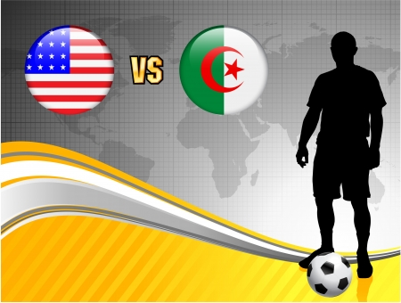Algeria versus United States on Abstract World Map Background Original Illustration Vector