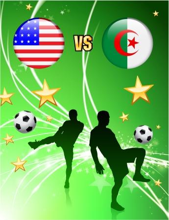 Algeria versus United States on Abstract Green Stars Background Original Illustration