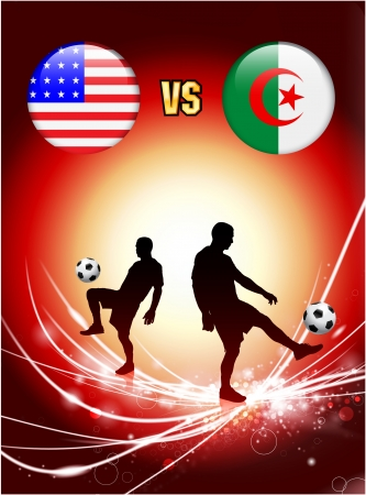 versus: Algeria versus United States on Abstract Red Light Background Original Illustration