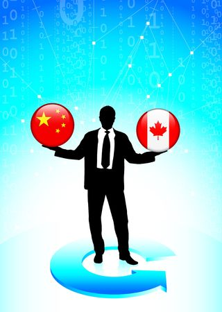 Businessman Holding china and canada  Internet Flag Buttons