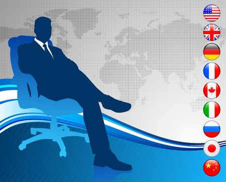 Businessman with world map and flag buttons