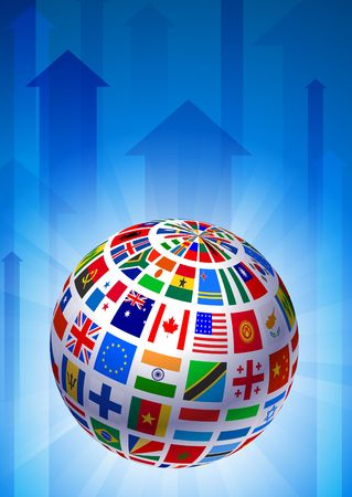 Flags Globe on Blue Arrow Background