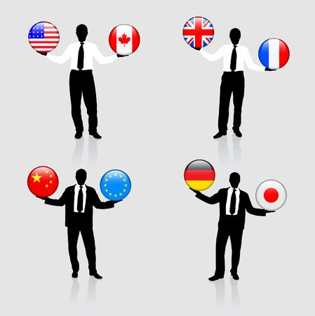 Businessman Collection with Internet Flag Buttons