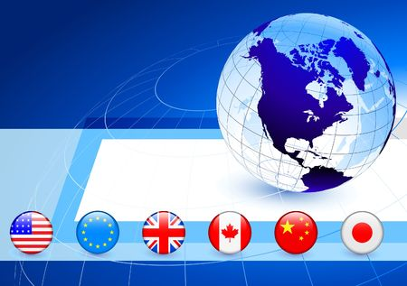 Business Globe with Flag Internet Buttons
