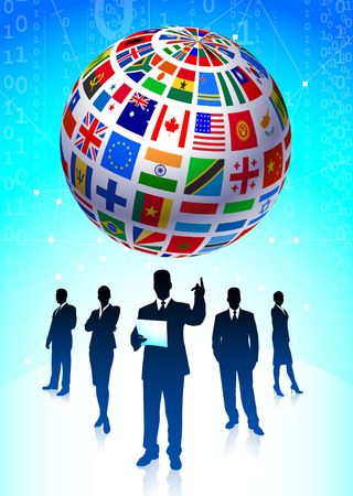 Business Team with Flags Globe