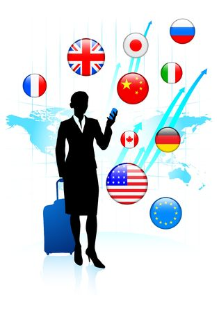 Businesswoman traveler with Internet Flag Buttons