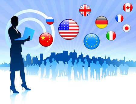 Businesswoman on Skyline Background with Internet Flag Buttons