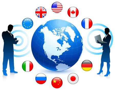 Business Communication with internet flag buttons