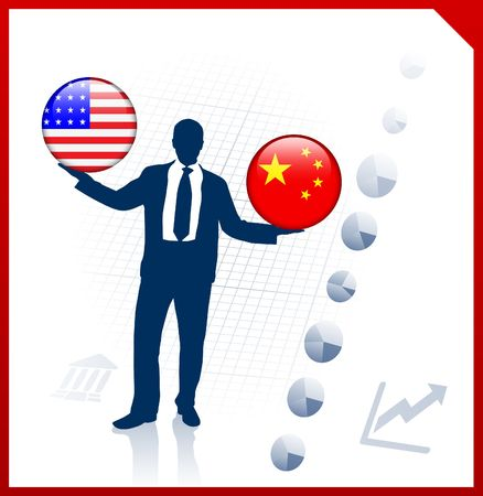 Businessman Holding United States and china  Internet Flag Buttons