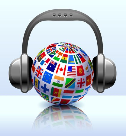 Flags Globe with Headphones