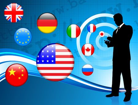 Businessman communication background with internet flag background