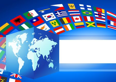 Cube Globe with World Flags Banner