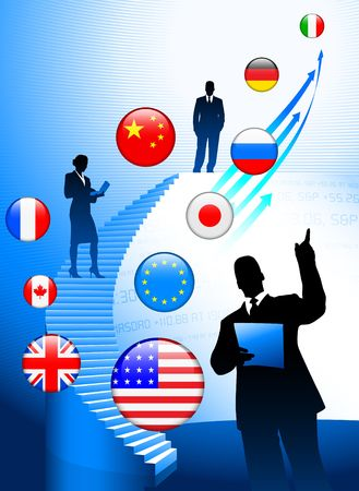 Business Tema with Internet Flag Buttons Background