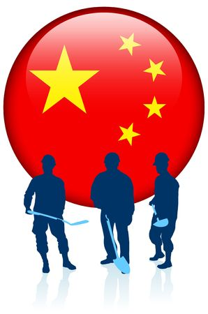 Construction workers with China Internet Button