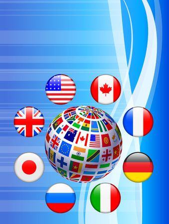 Flags Globe with Internet ButtonsOriginal Vector Illustration