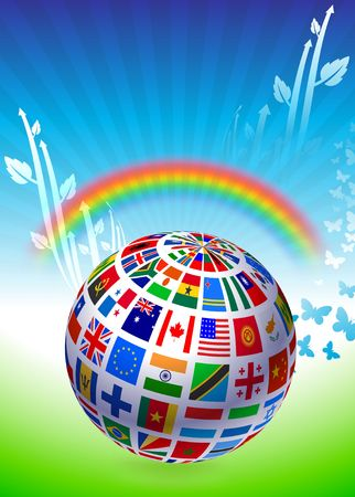 Flags Globe on Natural Background