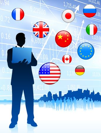 Finance Bussinessman with internet flag buttons
