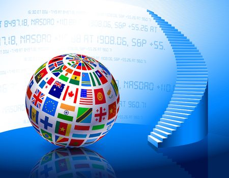 Flags Globe with Stairs