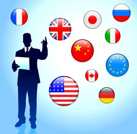 Businessman Leader with Internet Flag Buttons