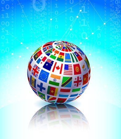 Flags Globe on Binary Code Background