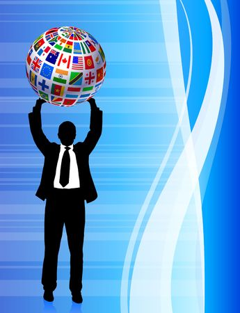 Businessman with Flags Globe