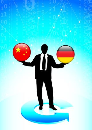 Businessman Holding china and germany Internet Flag Buttons