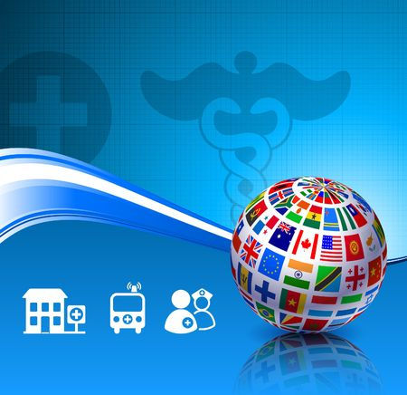 Flags Globe on Health Background