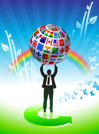 Flags Globe  on Green Background