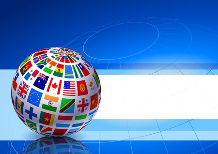 Flags Globe on Blue Abstract Background