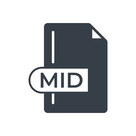 MID File Format Icon. MID extension filled icon.  イラスト・ベクター素材