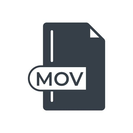 MOV File Format Icon. MOV extension filled icon.