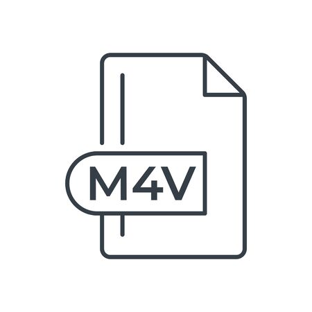 M4V File Format Icon. M4V extension line icon.
