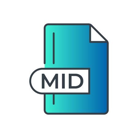 MID File Format Icon. MID extension gradiant icon.