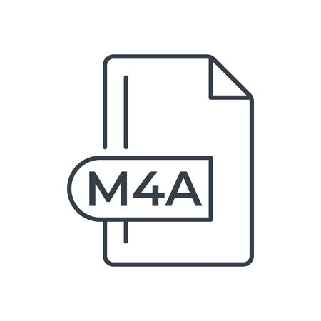 M4A File Format Icon. M4A extension line icon.  イラスト・ベクター素材