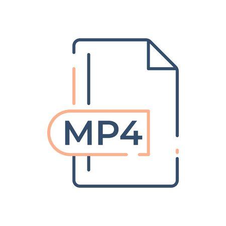 MP4 File Format Icon. MP4 extension line icon.  イラスト・ベクター素材