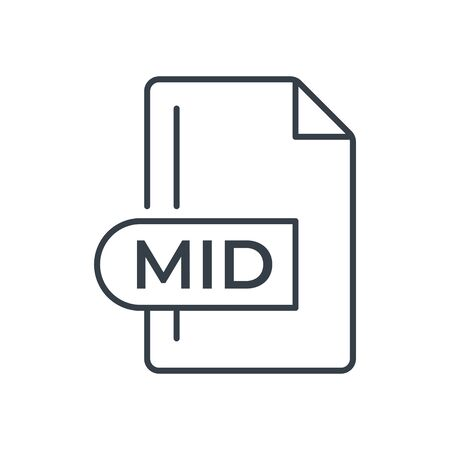 MID File Format Icon. MID extension line icon.  イラスト・ベクター素材