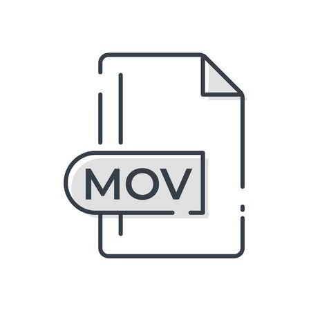 MOV File Format Icon. MOV extension line icon.  イラスト・ベクター素材