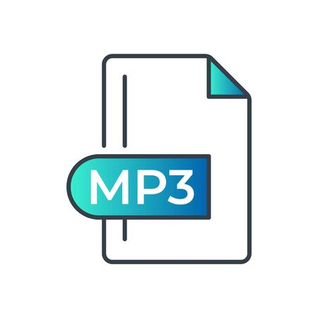MP3 File Format Icon. MP3 extension gradiant icon.