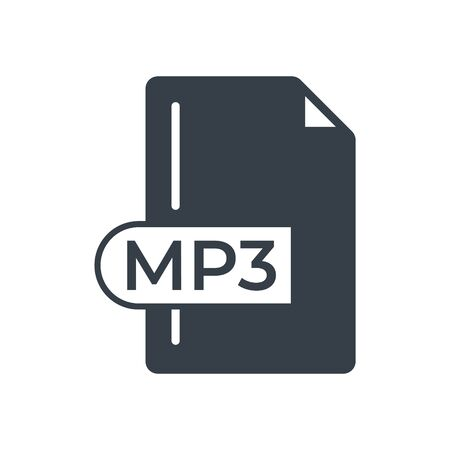 MP3 File Format Icon. MP3 extension filled icon.