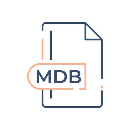 MDB File Format Icon. MDB extension line icon.