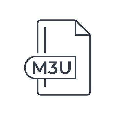 M3U File Format Icon. M3U extension line icon.