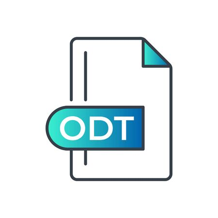 ODT File Format Icon. ODT extension gradiant icon.