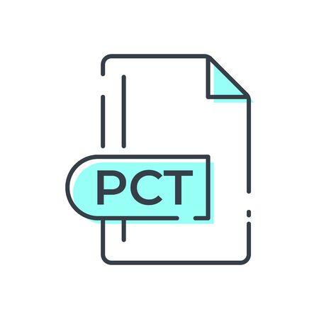 PCT File Format Icon. PCT extension line icon. Foto de archivo - 150467304