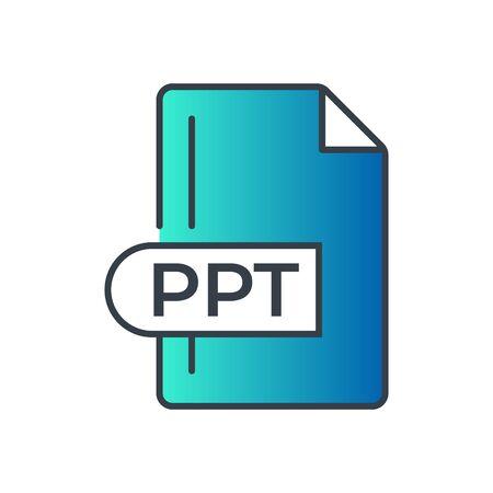 PPT File Format Icon. PPT extension gradiant icon. Foto de archivo - 150467305