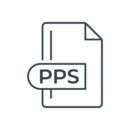 PPS File Format Icon. PPS extension line icon. Foto de archivo - 150467313