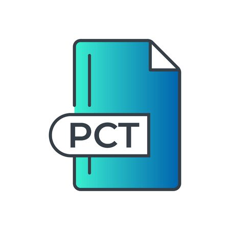 PCT File Format Icon. PCT extension gradiant icon.